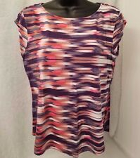 Liz Claiborne Woman's Multi Color Dash/Striped Design Shirt Size L