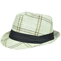 Woven Straw Large XLarge Fedora Trilby Ribbon Bow Plaid Hat Stetson FD-184 Ivory