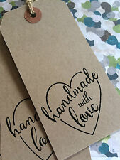 10 LARGE HANDMADE WITH LOVE HEART TAGS LABELS WHITE OR MANILLA