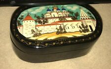 Small Oval Black Lacquer Box Russian Hand Painted Signed Jewelry Keys Keepsake