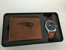 NFL New England Patriots Leather Watch / Wallet Gift Set By Rico Industries