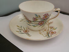 ? PRE 1861 CUP AND SAUCER  WITH A DAISY AND OTHERS  FLORAL  PATTERN   NO MAKER