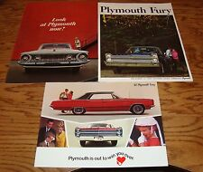Original 1962 1965 1967 Plymouth Fury Sales Brochure Lot of 3 62 65 67