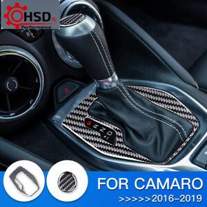 Carbon Fiber Interior Trim Car Gear Shift Panel For Chevrolet Camaro 2016 - 2019