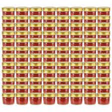 vidaXL 96x Jampot met Goudkleurige Deksel Glas Jampotten Glazen Opbergpot Pot