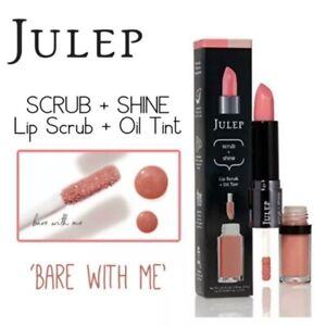 2 JULEP Scrub & Shine Lip Scrub + Oil Tint- Bare With Me New in Box