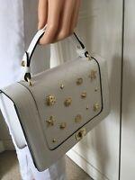 BNWT White Satchel Handbag Gold Sea Shells Detachable Long Strap