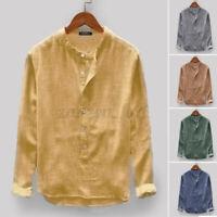 Men's Loose Casual Long Sleeve Shirt V-Neck Henley Tops T Shirt Blouse Shirts AU