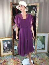 VTG 80s Orchid Purple Ballerina Sheer Over Tank Dress Size Small  EUC