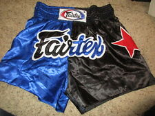 FAIRTEX ~SHORTS~ BOXING BLACK BLUE RED STAR Elastic Band Sz XL (36/38)