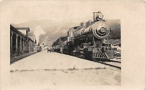 H40/ Lowell Massachusetts RPPC Postcard 1908 Railroad Depot Locomotive