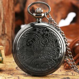 Bronze Vintage Quartz Doctor Who Man Woman Pocket Watch Necklace Chain Gift