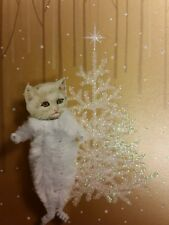 WHITE CAT Vintage Style Chenille Christmas Ornaments - Set of 3