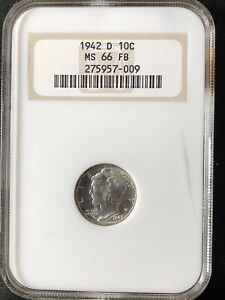 1942-D 10C FB Mercury Dime NGC MS66FB     275957-009