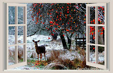 Deer & Snow Christmas Window View Repositionable Color Wall Sticker Wall Mural