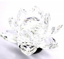 Shiny Crystal Cut Lotus Flower  Ornament Clear Glass candle holder Gift Box UK
