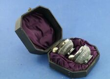 More details for antique pair of silver plated salt cellars with spoons in fitted case.