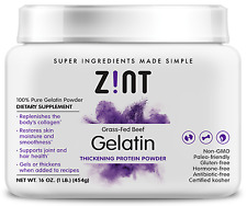 Zint Beef Gelatin (1lb): Grass-Fed, Paleo-Friendly, Non-GMO Collagen Protein
