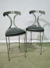 *PAIR* Johnson Casuals Polished Steel Counter Height Chairs; High End Pieces