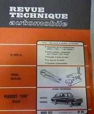 NEUF DE STOCK Revue technique PEUGEOT 504 DIESEL RTA 311 1972 SIMCA 1100 SPECIAL