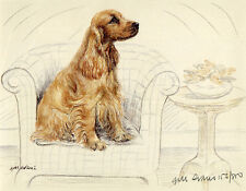 COCKER SPANIEL GOLDEN DOG ART LIMITED EDITION PRINT - Sitting on an arm Chair