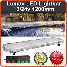 "LED Light Bar 1200mm 1.2 Metre 48"" 12v 24v Amber Flashing Strobe Beacon Recovery"