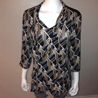 Dana Buchman Blouse Size L Large Womens Shirt Top Geometric Scarf Tie Neckline