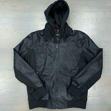 Guess Black Detachable Hood Faux Leather Bomber Jacket Men's Size Medium