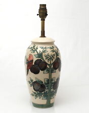 Moorcroft Pottery 'Plum' Pattern Large Lamp Base by Sally Tuffin 1988-90