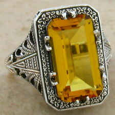 4.5 CT HYDRO CITRINE ANTIQUE DECO DESIGN .925 STERLING SILVER RING Sz 9,  #353