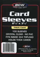 (100)  3x4 BCW Thick Soft Poly Card Protectors, Penny Sleeves protect cards