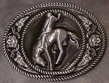 Pewter Belt Buckle rodeo Bronco Busting NEW left