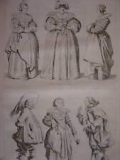 Gravure Dame avec Loup  Costumes du temps de Louis XIII
