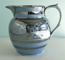 Superb Antique Staffordshire Pearlware Blue Ground Silver Lustre Resist Pitcher