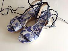 BNWTB 100% Auth Michael Kors, Ladies Blue Flowered Wedges Shoes. UK 7