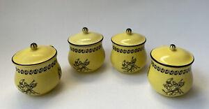 Vintage Mottahedeh Italian Yellow and Black Toile Creil Ware - Four Pot de Creme