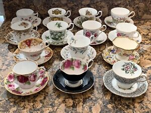 Lot of 14 Tea Cups & Saucers Grosvenor Regency Royal Albert Royal Windsor & More
