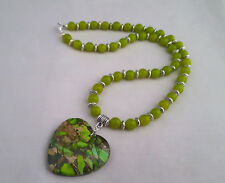 Apple green peridot bead necklace with patchwork agate heart pendant - 1001930