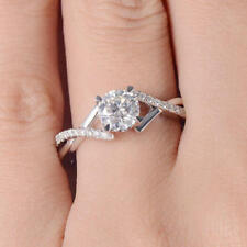 3.10Ct White Round Stone 925 Ss Curved Halo Unique Women's Engagement Ring With