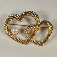 Gold Tone Rope Double Heart with Faux Pearl Brooch Signed AAi Vintage Pin