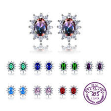 925 Silver 6 * 8 MM Oval Cut Mystic Topaz Gemstone Flower Ear Studs Earrings