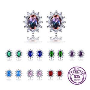 Fashion 925 Silver Oval Mystic Topaz Gemstone Multi-Color Flower Studs Earrings!