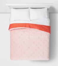 Velvet Stitch Quilt Pillowfort Orange Full / Queen Size Reversible Floral