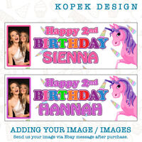 2 x Personalised Unicorn Birthday Party Banners with Photo
