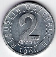 1966 AUSTRIA 2 GROSCHEN  WORLD COIN NICE!