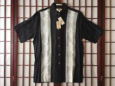 Campia Moda Black Short Sleeve Hawaiian Sport Shirt w Coconut Trees Men Size M