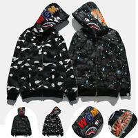 BAPE Mens A Bathing Ape Space Camo Shark Hoodie Full Zip Sweater Coat Jacket Hot
