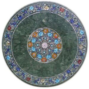 """36"""" Marble Dining Table Top Inlay Rare Semi Round Center Coffee Table AR0887"""