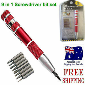 RED PEN STYLE PRECISION POCKET SCREWDRIVER BIT SET TORX SLOTTED PHILLIPS 9 IN 1