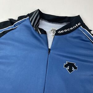 Descente Blue Cycling Jersey 1/2 Zip Short Sleeve Size Large Made in Mexico NICE